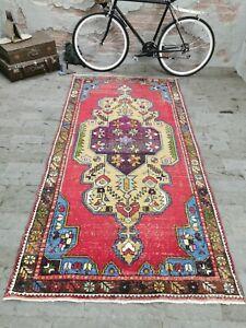 Colorful Decorative Vintage Turkish Rug, Red Carpet Handmade Wool Rug 4.2x8.8 ft