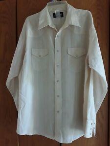 Vintage Wrangler Mens Cowboy Western Pearl Snap Button Up Shirt Sz XL