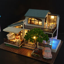 DIY Miniatures Wooden Villa Dollhouse Assembled Furniture Kits London Holiday