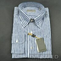 NWT - CANALI 1934 Recent Blue Striped 100% Cotton Casual Dress Shirt - LARGE