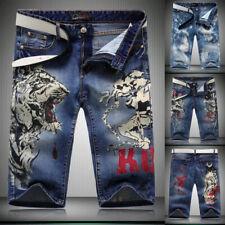 Fashion Men Denim shorts Short Jeans Skinny Jeans Short Pant embroidery Trouser
