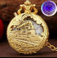 House clearance Pocket watch with quartz movement and chain and night light