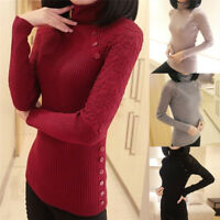 Women Fashion Choker Lace Knitted Pullover Casual Knitwear Long Sleeve Sweater O