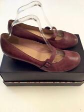 CLARKS BROWN LEATHER MARY JANE HEELS SIZE 6.5/39.5