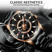 CURREN Men Watches Stainless Steel Round Calendar Dial Quartz Luxury Wristwatch