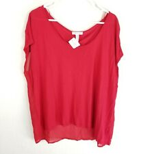 Ambiance apparel short sleeve sheer lined blouse women's size 3x red NWT