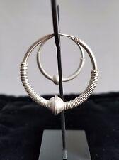 Handmade Bali Sterling Silver 925 7.4 g Wrapped & Ringed Ball HOOP EARRINGS 32mm