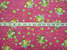 FLANNEL Prints Fairies Fuchsia Cotton Quilting Fabric 1/2YARD