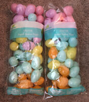 96 Bulk Plastic Easter Basket Eggs Multi color pastel Fillable empty lot filler