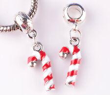 925 silver 2pcs Christmas big hole Beads Fit European Charm Bracelet DIY B#873