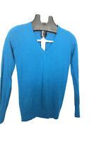Womens Banana Republic Vneck Jumper 100% Merino Wool Blue Small Size