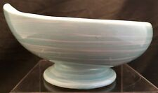 Antique McCoy Pottery Usa Robin Blue Swirl Footed Bowl Planter w/ Curled Lip Old