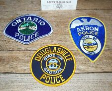 LOT of 3 Vintage POLICE PATCHES  Douglasville GA - Ontario - Akron OH  PD cop
