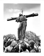 B & W Historical Photograph 1970 Washington DC Crucifiction of Negro May protest