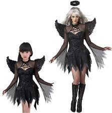Ladies Girls Sexy Dark Fallen Angel Black Fairy Fancy Dress Costume Party Outfit