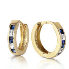 1.26 Carat 14K Solid Gold Hoop Earrings Natural Sapphire White To