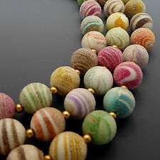 VINTAGE 1950'S SWIRL SUGAR BEAD 3 STRAND NECKLACE MULTI-COLOR PASTEL PINK GREEN