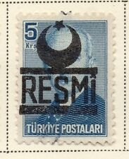 Turkey 1951-54 Early Issue Fine Used 5k. Optd Resmi Star & Crescent 085544