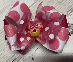 Pink Minnie Mouse Boutique Hair Bow Stacked Girl  Clip Toddler Disney Donut