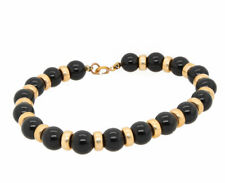"""14K Yellow Gold and Natural Black Onyx Beads Bracelet 7.5"""""""