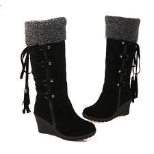 Faux Winter Knee High Boots Wedge Womens Shoes Lace Up Wedge Suede Fringe Plus