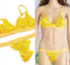 New Women Lace Floral Triangle Bralette Bralet Bra Set Bustier Crop Top Unpadded