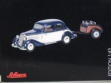 Mercedes 170 V mit Anhänger blau-weiß 1:43 Schuco 2465 neu & OVP