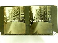 large Women's March down the streets of Chicago Stereoview circa 1900's
