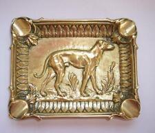 Vintage Antique FRENCH Heavy BRASS ASHTRAY Trinket Dish GREYHOUND DOG SCENE