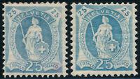 SCHWEIZ 1906, MiNr. 81 A und 81 C, sauber ungebraucht, Mi. 168,-