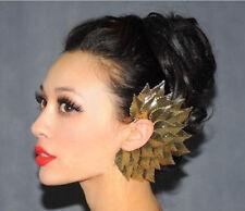 Gold Big Leaves Feather Ear Cuff Earrings wrap large Women retro Goth Punk uk