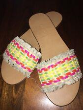 J Crew Sandals 7.5 Rainbow Raffia Slides NEW h9773 $69.50 SOLD Out