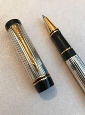 1991 PARKER DUOFOLD GODRON SOLID SILVER GOLD TRIM ROLLERBALL PEN-BOXED-NR MINT