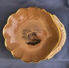 Antique Spode Chalcedony Shell Dessert Dish c1820 Deer Scene