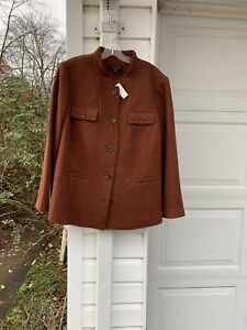 NWT Talbots Beautifully Made Brown Wool Pockets On Front Lined Blazer 24W 3X