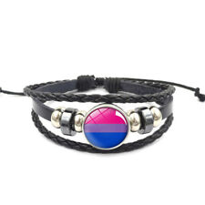 Bisexual Adjustable Leather & Glass Cabachon Wristband