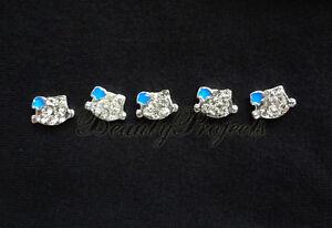 5pcs nail art blue 3D kitty cat face rhinestone charms acrylic nails gel A105