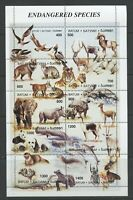 Endangered Species Miniature Sheet mnh 10 stamps Elephant Tiger Rhino Lizard