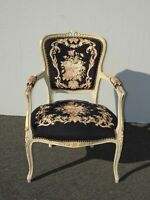 Vintage French Country Black Floral Tapestry Needlepoint Accent Chair