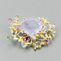 Top AAA 24ct+ Natural Lavender Amethyst 925 Sterling Silver Brooch /NB07863