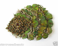 Olive Green Gold Bronze Feather Fascinator Peacock Rhinestone Vtg Hair Clip R40