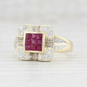 0.90ctw New Ruby Diamond Halo Ring 10k Yellow Gold Size 8 Square Statement