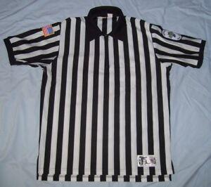 Honig's Basketball Referee Uniform Shirt Black/White Striped Zipper Men's XL