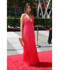 J Mendel hot pink raspberry mousseline chiffon ruched bodice gown 12 dress $5250