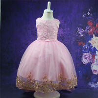 Kids Baby Flower Girl Bow Princess Dress for Girls Party Wedding Bridesmaid Gown