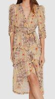 $845 ba&sh Women's Beige V-Neck Ruffle Floral Metallic Midi A-Line Satin Dress M