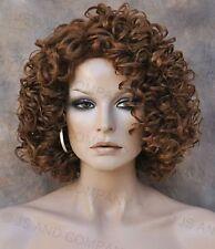 Short Corkstrew Human Hair Blend wig Auburn Mix Heat Safe mel 30-27