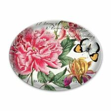 """Michel Design Works /""""Candy Cane/"""" Oval Glass Soap Dish in Gift Box NEW!"""