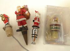 Lot 4 Santa Snowmen Globe Wine Stoppers 1 New 2 Cork Christopher's Tree