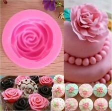 DIY 3D Fondant Cake Chocolate Sugarcraft Rose Flower Mold Cutter Silicone Tools